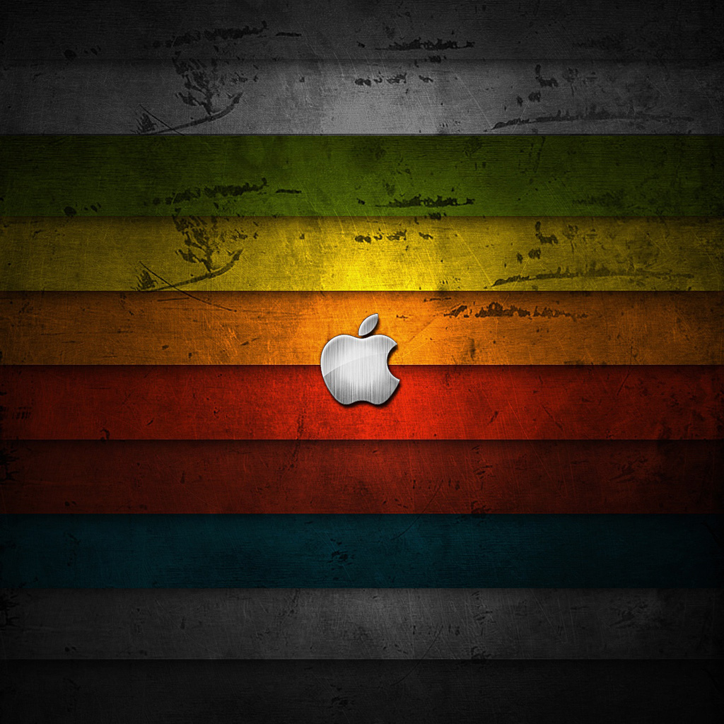 Apple Rainbow Wood Logo